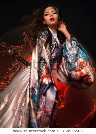 Gésa kimonó illusztráció virágok lány női Stock fotó © adrenalina