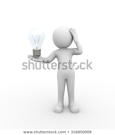 3d rendering of a man holding a light bulb stock photo © kzenon