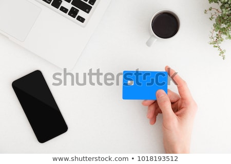 Laptop, smart phone and business card, top view mock up Stock photo © stevanovicigor
