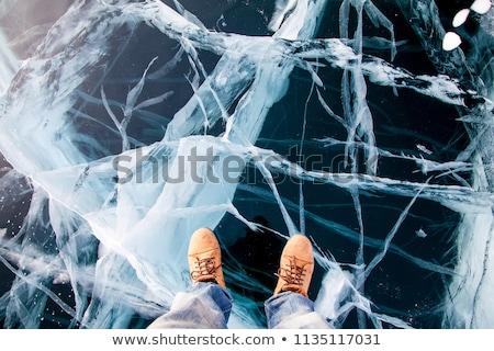 Winter ijs spleet groot rechtdoor Blauw Stockfoto © romvo