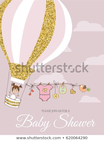 Beautiful retro baby shower card template with golden glittering Stock photo © balasoiu