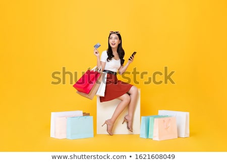 Feliz jóvenes dama tarjeta de débito Foto stock © deandrobot