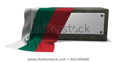 stone socket with blank sign and flag of bulgaria   3d rendering stock photo © drizzd