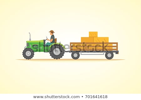 vector cartoon illustration of tractor driver stock photo © curiosity