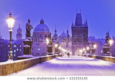 híd · tél · Prága · Csehország · épület · fény - stock fotó © phbcz