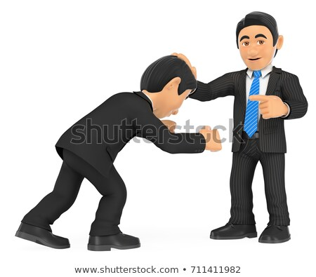 3D Businessman holding head with hand to other. Superiority Stock photo © texelart