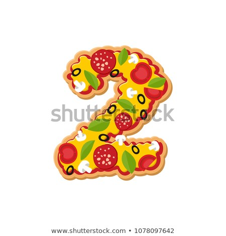 Number 2 pizza font. Italian meal alphabet numeral two. Lettring Stock photo © popaukropa