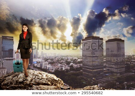 woman standing on a city skyline background and holding a suitcase stock photo © ichiosea