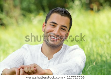 Happy Man in a Park Black and White stock photo © Qingwa
