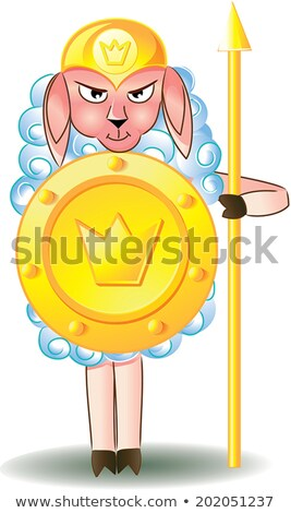 lamb as a warrior with shield and spear Stock photo © Olena