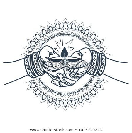 Foto stock: Silhueta · indiano · férias · ilustração · forma · oração