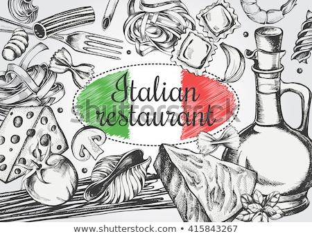 Cartaz projeto cozinha italiana ilustração comida arte Foto stock © bluering