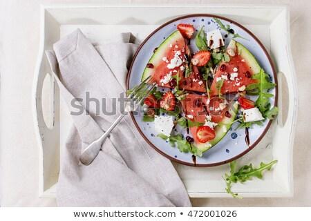 フェタチーズ フォーク 作品 新鮮な バジル 銀 ストックフォト © Digifoodstock