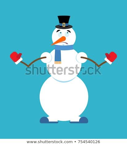 Boneco de neve oops ano novo natal mão cara Foto stock © popaukropa