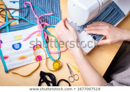женщину рабочих швейные машины бизнеса женщины ткань Сток-фото © IS2