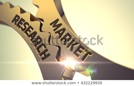 Marketing kutatás arany fémes fogaskerekek mechanizmus Stock fotó © tashatuvango