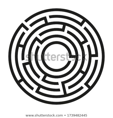 круга лабиринт лабиринт решения красный линия Сток-фото © psychoshadow