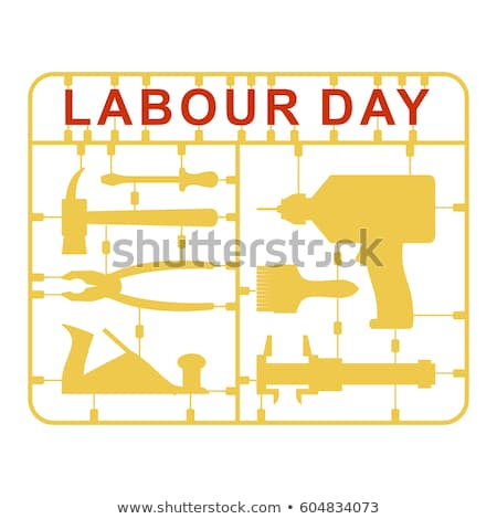 Labor Day is set of tools. Plastic kit with metalwork instrument Stock photo © popaukropa