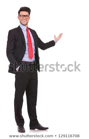 üzletember pálma kamerába üzletember portré stop Stock fotó © IS2