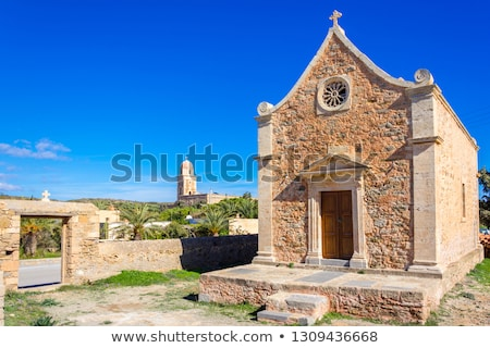 old stone windmill near toplou monastery in crete greece stock photo © ankarb