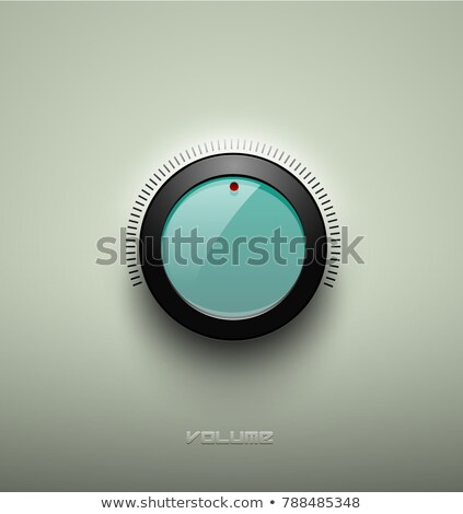 technology music green glassy button icon volume settings sound control knob with black plastic stock photo © iaroslava