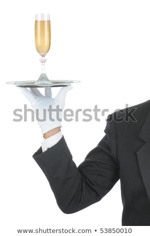 Kéz kesztyű tálca pezsgő üveg buborékok Stock fotó © DenisMArt