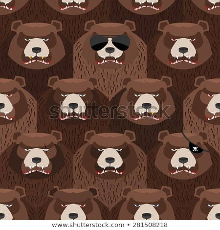 seamless pattern of brown angry bear a flock of evil and scary stock photo © popaukropa