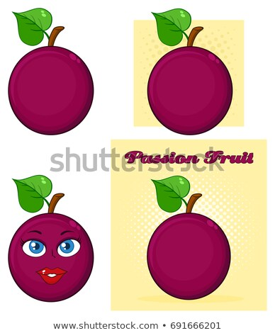 Passion Fruit With Heart Leaf Cartoon Drawing Simple Design Stock photo © hittoon