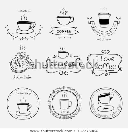 Ayarlamak bağbozumu Retro kahve etiketler elemanları Stok fotoğraf © Oney_Why