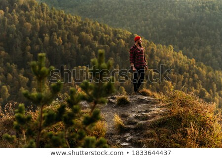 Tourist in the mountains contemplates the autumn beauty of natur Stock photo © Kotenko