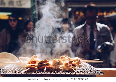 scallop and sea eggs skewer grill stock photo © boggy