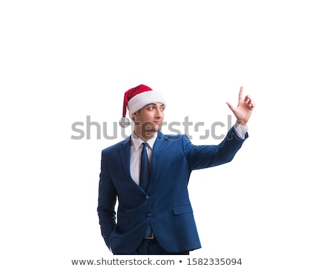 young busnessman wearing santa hat in christmas concept on white stock photo © elnur