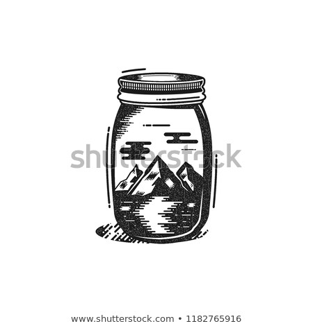 Travel T-Shirt Print. The mountains and river in jar design. Adventure silhouette printing, poster.  Stock photo © JeksonGraphics