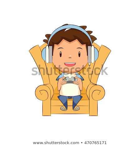 little boy playing video games on the couch vector isolated illustration stock photo © pikepicture