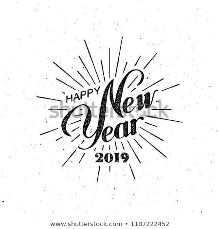 Glückliches neues Jahr Grußkarte Inschrift Mode Stil heiter Stock foto © FoxysGraphic