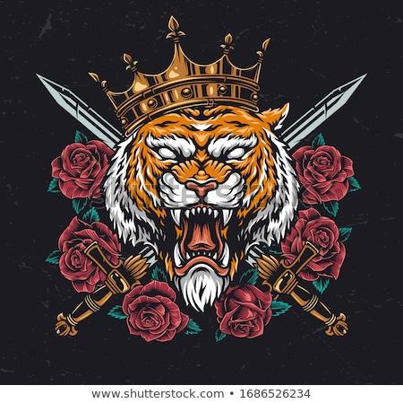 tijger · kroon · vector · mascotte · naar · gevaar - stockfoto © morys