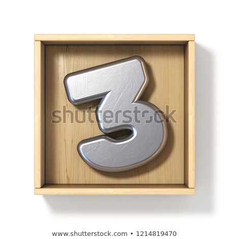 Silver metal number 3 THREE in wooden box 3D Stock photo © djmilic