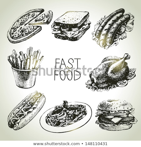 Fast-food ayarlamak vektör tek renkli kroki Stok fotoğraf © robuart