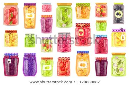 Conservado comida pôsteres conjunto produtos pepinos Foto stock © robuart