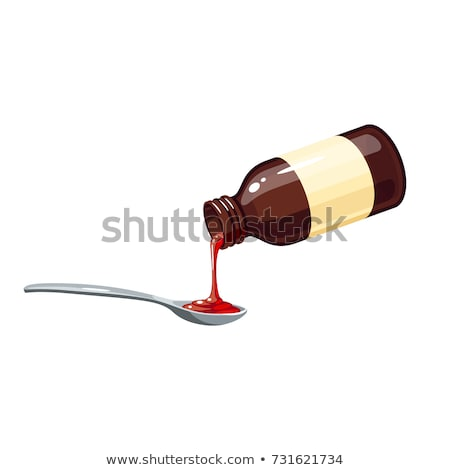 Glass Bottle of Medical Syrup for Sore Throat Stock photo © robuart