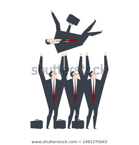 Businessmen throw up boss. Office managers congratulate boss. Of Stock photo © MaryValery