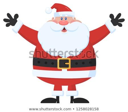 santa claus cartoon mascot character holding up his arms stock photo © hittoon