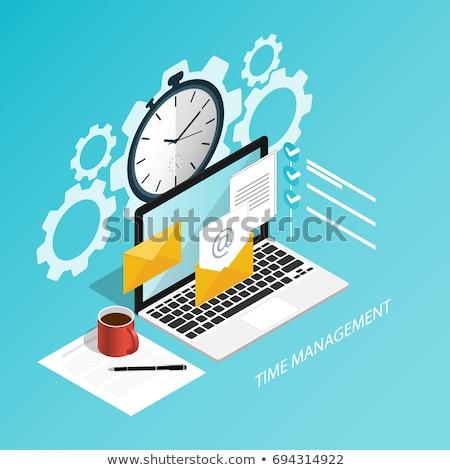 Időbeosztás modern színes izometrikus lila üzleti csapat Stock fotó © Decorwithme