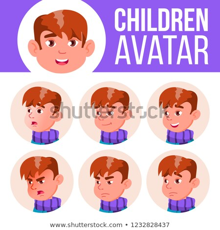 Boy Avatar Set Kid Vector. Primary School. Face Emotions. Children, Young People. Childish, Happines Stock photo © pikepicture