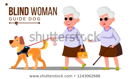 Blind Old Woman With Dark Glasses, Cane In Hand And Guide Dog Vector. Isolated Cartoon Illustration Stock photo © pikepicture