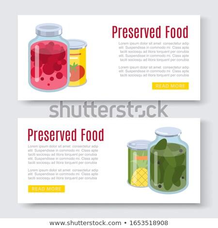 Bewaard voedsel banners vruchten jam ingesteld Stockfoto © robuart