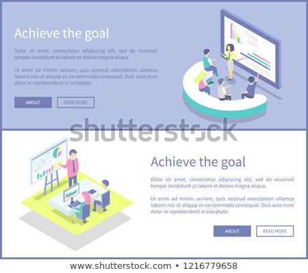 achieve goal posters info set vector illustration ストックフォト © robuart