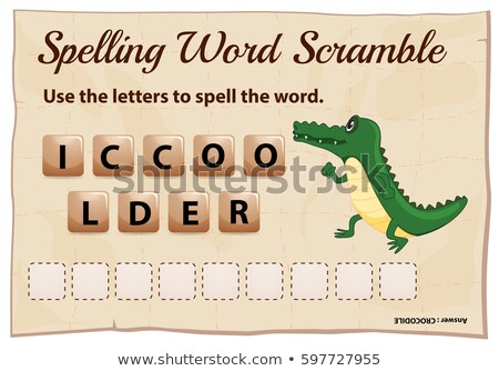 Spelling word scramble game template with crocodile Stock photo © colematt