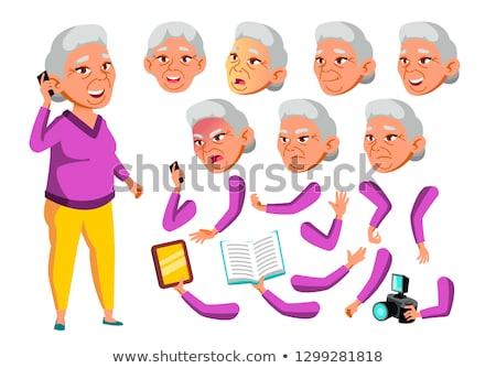 ázsiai öregasszony vektor idős személy kopott Stock fotó © pikepicture
