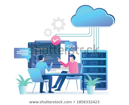 Programmers working with laptops and server rack vector illustration. Stock photo © RAStudio